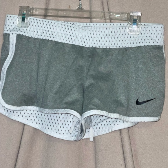 nike; grey and white net reversible shorts